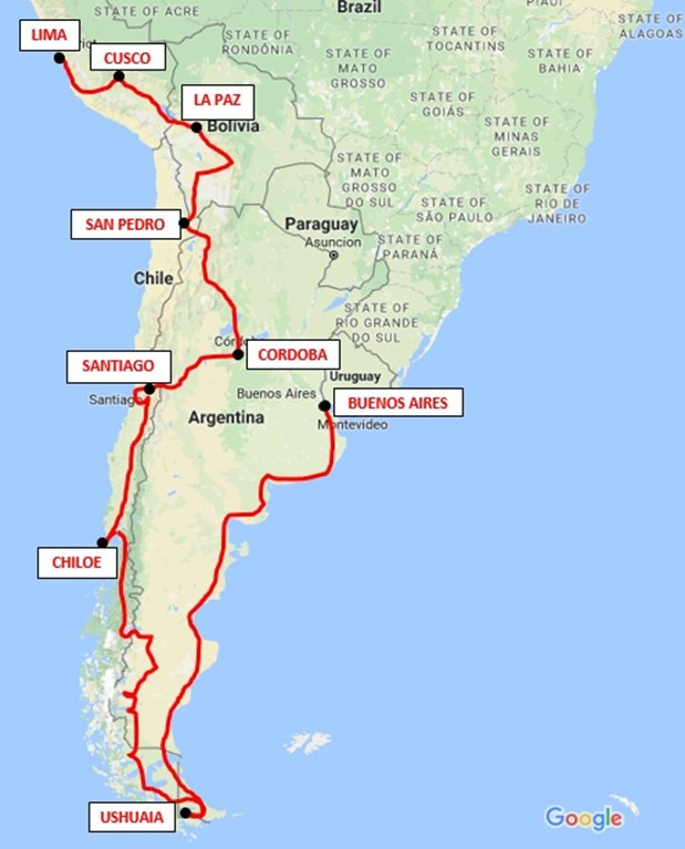 USHUAIA MAR DEL PLATA BUENOS AIRES To December - Argentina map ushuaia